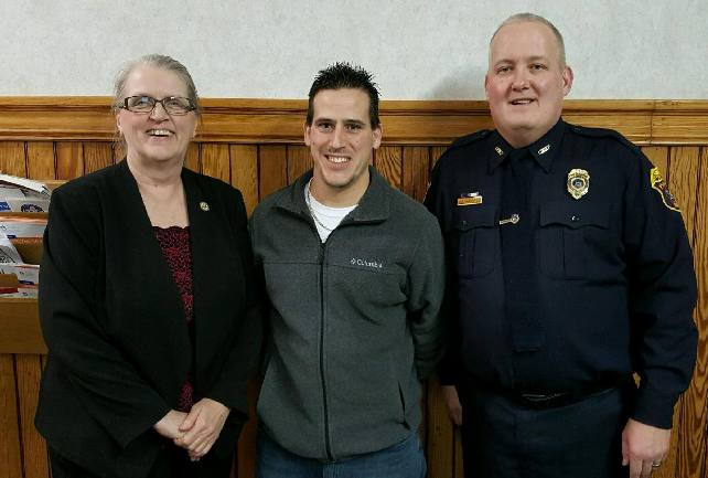 From left:  Nunda Town Supervisor Merilee Walker, Michael D'Amico and Police Chief Jeff Wilcox